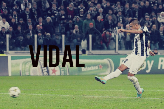 Vidal takes penalty in the Champions League