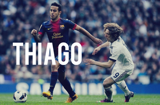 Thiago playing for Barcelona vs Real Madrid