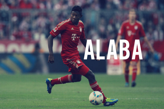 Alaba in action in the Bundesliga