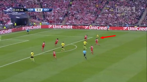 Kuba looking to play a through ball in from the right.
