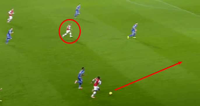 Walcott played in the right channel for most of the game freeing up space for Sagna.