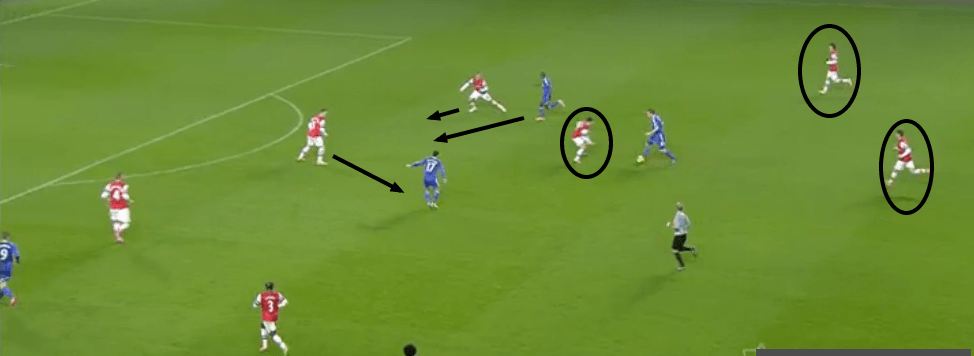When Chelsea broke, Arteta was the only midfielder who could get goal-side of play making Arsenal susceptible to the counter.