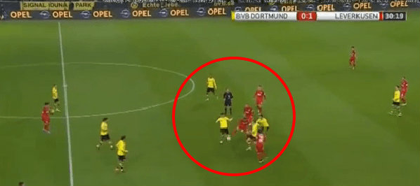 Leverkusen successfully stemmed the flow of Dortmund attacks by crowding the midfield and being aggressive.