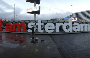 Outside Schiphol Airport in Amsterdam we snapped a few photos. Cold and wet, but we didn't care.