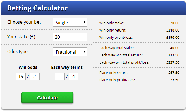 Odds Calculator Horses