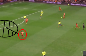 Sterling with acres of space in the build-up to his 1st goal.