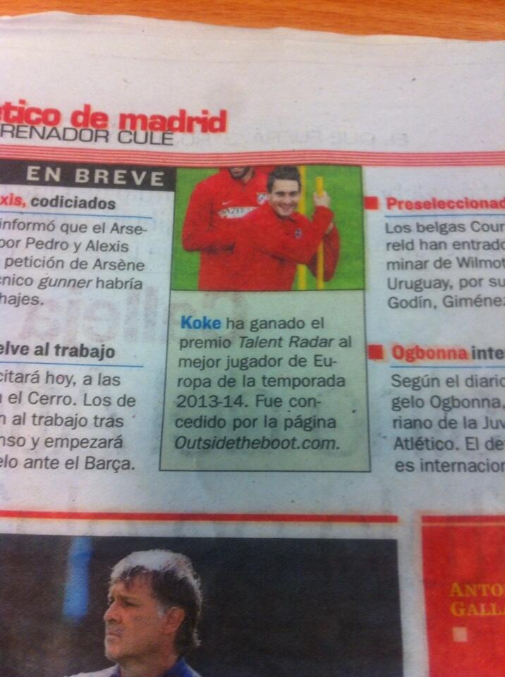 Talent Radar Awards Spanish Newspaper