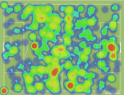 Eto'o tries to play much of his football in and around the box, but as we can see there was not much activity in those areas (via Squawka)