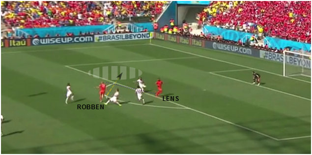 The run makes space for Robben to move into, creating a chance for a shot.