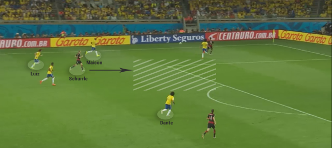 Goal #7: Brazilian defence is caught off-guard. Yet again, Luiz is behind Schurrle which allows the latter to move unmarked into an empty box and score with his left foot.