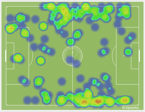 Jan Verthongen & Alderweireld's heat-map | via Squawka