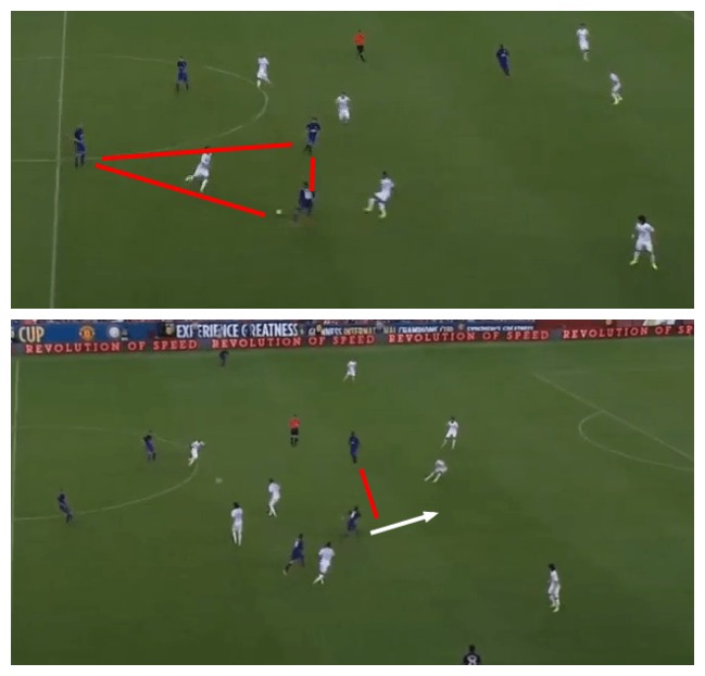 Triangle formed between Fletcher, Rooney and Mata ( Above ) Mata driving into the space created ( Below )
