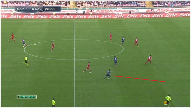 The pass that led to Napoli's second goal. Cagliar's left back isn't even in the picture!