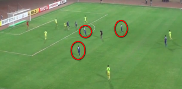 There are as many as 3 unmarked BFC players (circled in red) in plenty of space