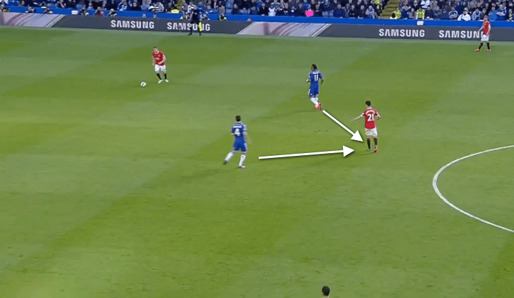 The Chelsea forwards were blocking off passes to Ander Herrera.