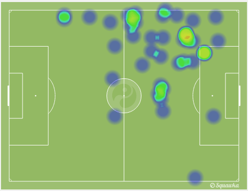 Kevin Kampl's heat map. via squawka.com