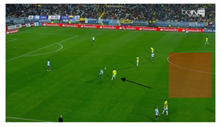 Colombia in defensive shape, only begin to press when Mascherano receives ball; although a fair amount of space is conceded between the lines.