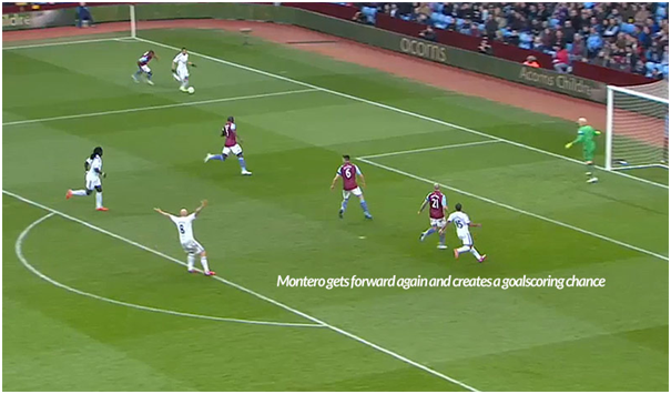 Example of direct wingers getting around the outside of their man in both Montero (on the ball) and Routledge on  the outside of Hutton at the back post.