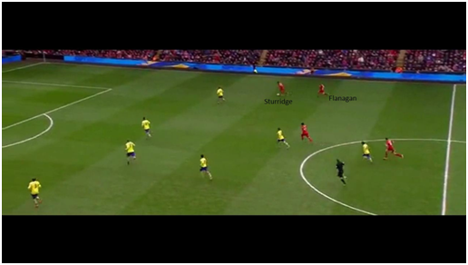 Sturridge receives the ball, accompanied by fullback Jon Flanagan, to create a potent counter-attack