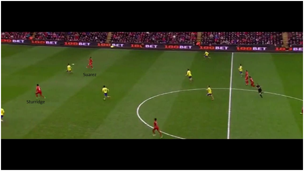 Suarez makes a first-time pass for Sturridge to release the latter onto goal