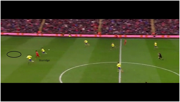 Sturridge uses his pace to run into the space behind Arsenal's defence