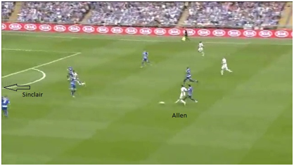 Allen passes to Sinclair on the left wing (not in picture)