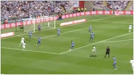 Allen comes from midfield to cut off passing lanes and apply pressure