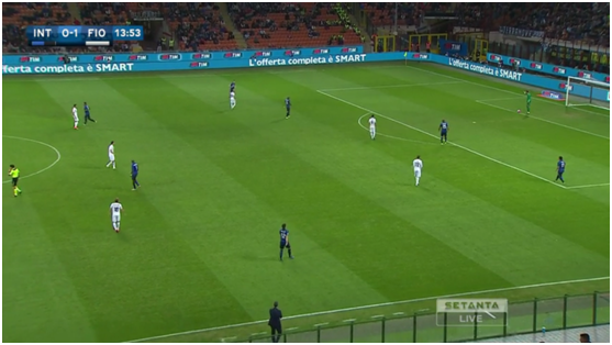 Fiorentina was creating a 4-3-3 on Inter goal kicks, positioning themselves in the spaces between the Inter players .