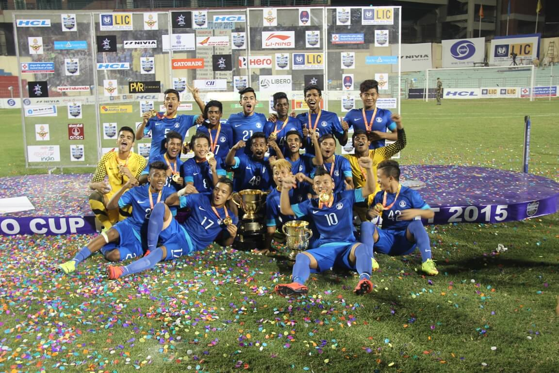 Jubilant AIFF Academy colts pose after winning the Subroto Cup. (1)