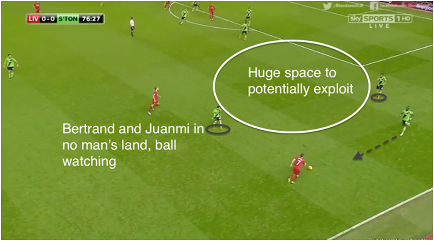 Benteke's goal: Play was again switched to Clyne (not in picture), who passed it back to Milner - which was not uncommon throughout the match. Mane lazily closes down Milner, while Bertrand stands in no-man's land afraid to leave his space, and Juanmi unwilling to leave Lucas and press. Note the huge space Liverpool could've potentially exploited – a rare occurrence all game despite having switched the play many times throughout the match. Milner is given several seconds that he needed to settle the ball down and pick out a cross, resulting in Liverpool's only goal.