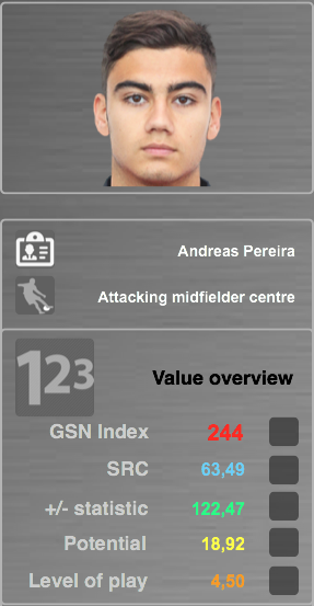Source: GSN Index SRC (Soccer related characteristics): Evaluation & characteristics (30+) which are essential for players +/- statistic: Based on performance data, players receive + and – scores for their actions on the field Potential: Modified economic and financial algorithms which show how a player will develop in the future Level of Play: The system rates and analyses every match a player has played in his entire career
