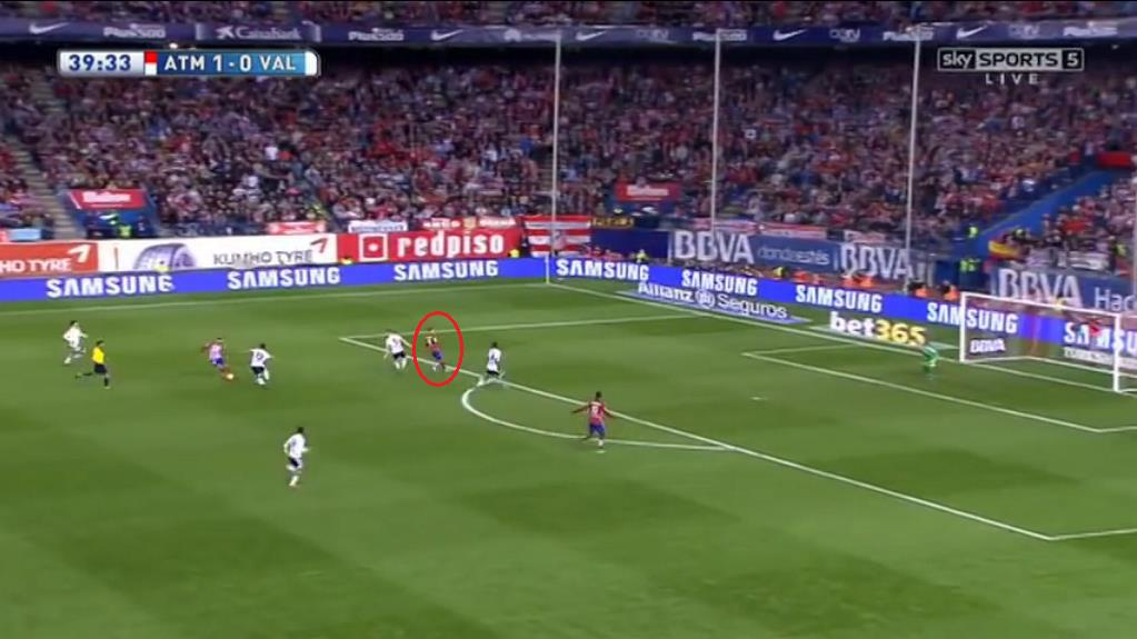 Just seconds later Griezmann has created a run that was used as a decoy with Carrasco cutting past da Silva