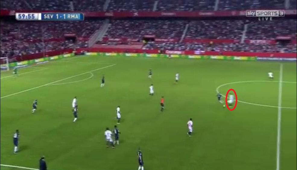 Andreoli cutting out Casemiro's pass inside Madrid's half as his starting position was so high