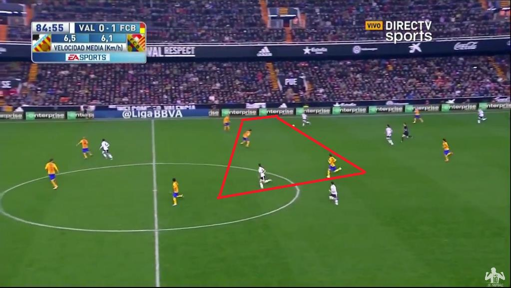 As Bakkali breaks to play the forward pass; Santi Mina is in a similar area to Busquets and Rakitic