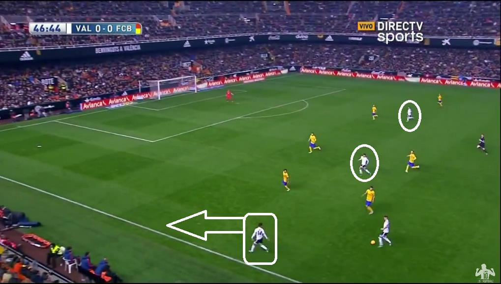 Valencia start 2nd half as they did the 1st; committing players forward in attempt to hurt the visitors