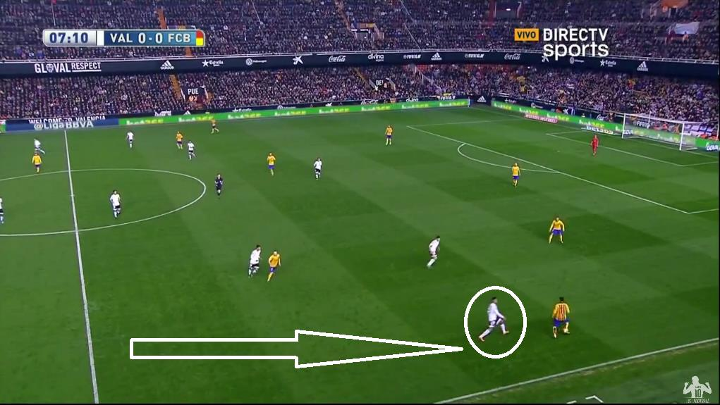 Neymar is forced to drop deep to start attacks as Full Back Ruben Vezo tracks the Brazilian