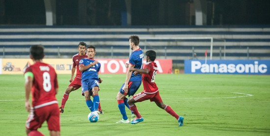 Bengaluru FC defender Lalchhuanmawia in action against Johor Darul Ta'zim at the Kanteerava Stadium, in Bengaluru, on Wednesday.