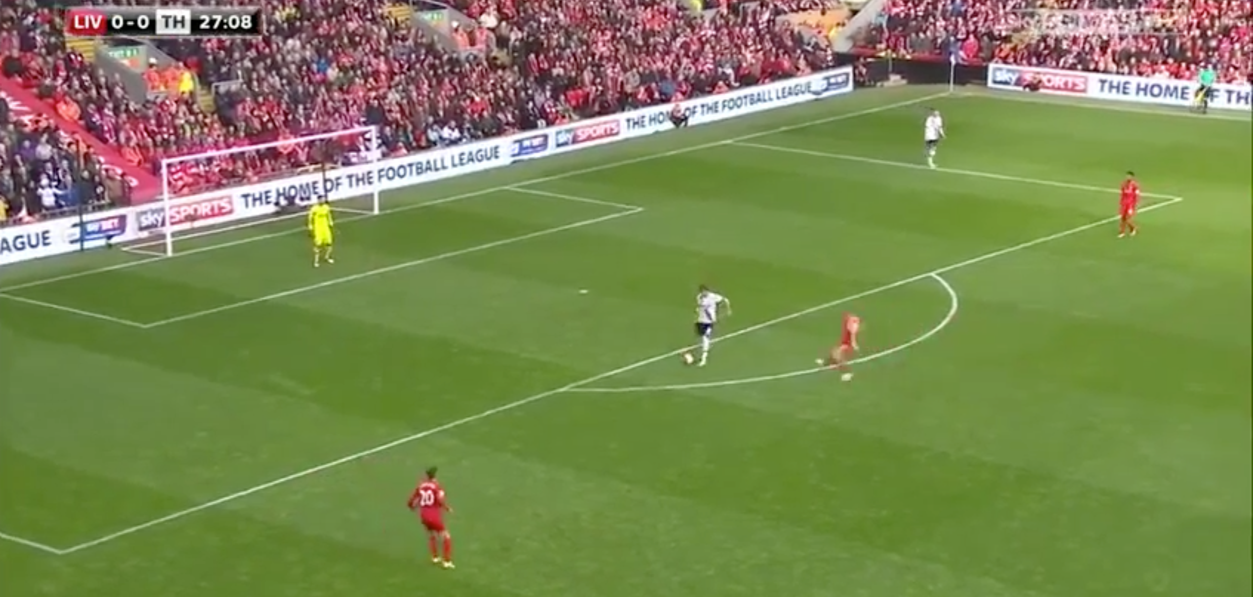 Jordan Henderson immediately applies pressure and forces Dier into making a quick decision to play the ball out wide.