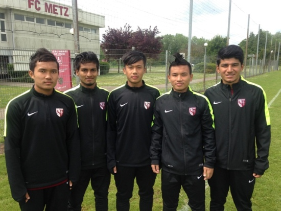 AIFF Elite Academy graduates (from left) Jerry, Prosenjit, Bedashwor, Bodo and Anirudh have signed contracts with Hero ISL Champions Chennaiyin FC.