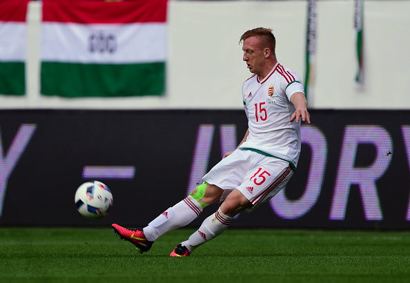 Hungary's midfielder László Kleinheisler vies for the ball during a friendly football match between Hungary and Ivory Coast on May 20, 2016 at Groupama Arena of Budapest. / AFP / ATTILA KISBENEDEK (Photo credit should read ATTILA KISBENEDEK/AFP/Getty Images)