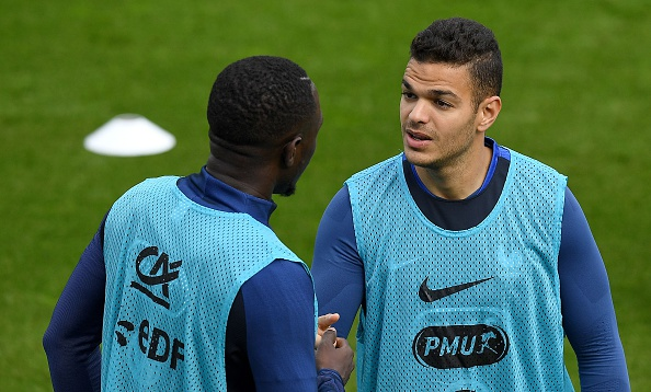 France's forward Hatem Ben Arfa (R) speaks with France's midfielder Moussa Sissoko during a training session in Clairefontaine en Yvelines on May 26, 2016, as part of the team's preparation for the upcoming Euro 2016 European football championships. AFP PHOTO / FRANCK FIFE. / AFP / FRANCK FIFE (Photo credit should read FRANCK FIFE/AFP/Getty Images)