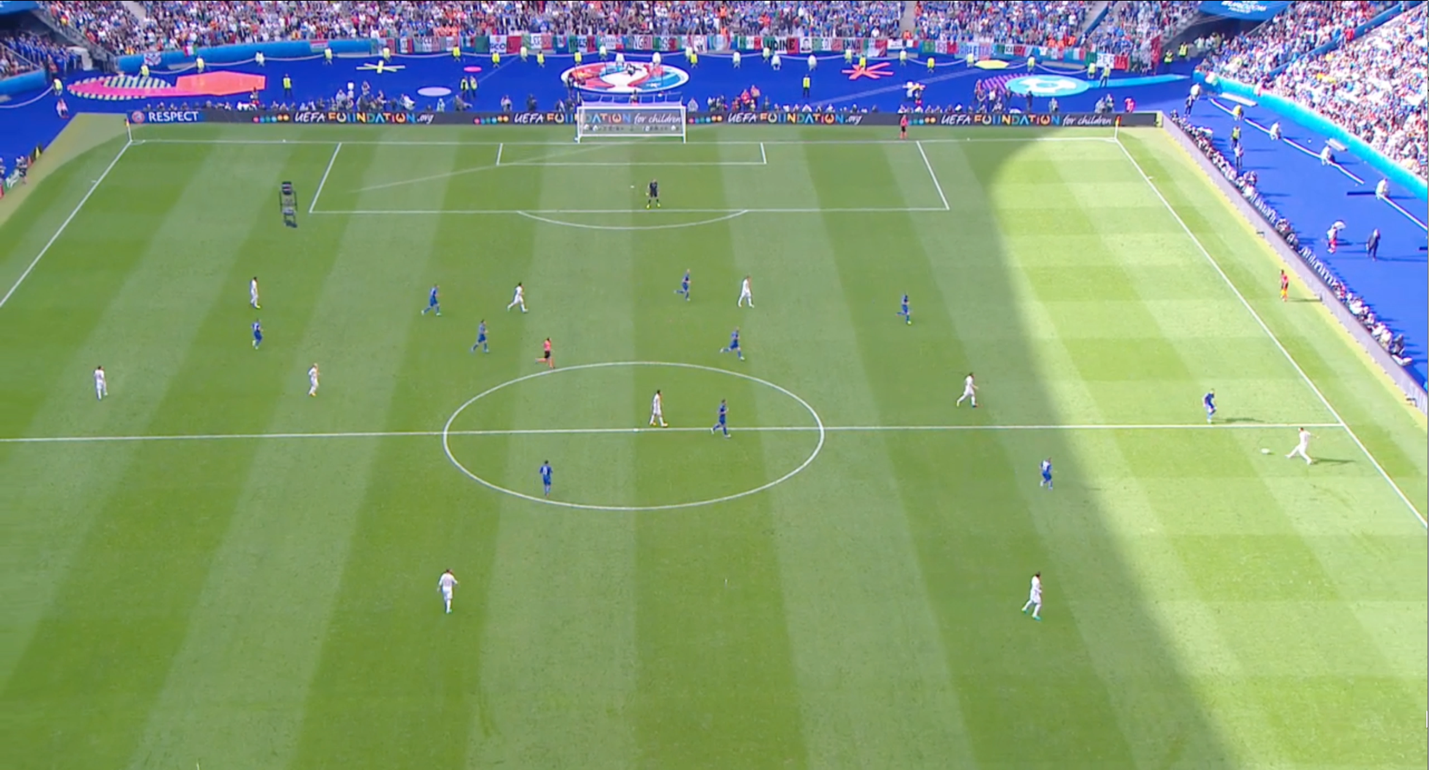 Truly a pressing 'trap', Italy's unit make you feel free to receive the ball in those acres of space in between the hexagon of Italian players and the space behind De Sciglio.