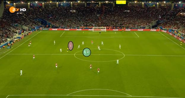 Nagy, in the blue circle, starts becoming more of a vertical presence on the pitch and finds Elek in the halfspace. Elek proceeds to link with Dzsudzsak, who cuts inside from the left hand side. Even with Dzsudzsak's positioning, you can see Lovrencsics not positioning himself according to Dzsudzsak's movements.