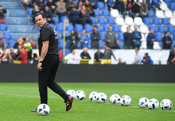 Belgium's coach Marc Wilmots takes part in a training session ahead of the upcoming Euro 2016 UEFA European Championship, in Genk on June 2, 2016.  / AFP / EMMANUEL DUNAND        (Photo credit should read EMMANUEL DUNAND/AFP/Getty Images)