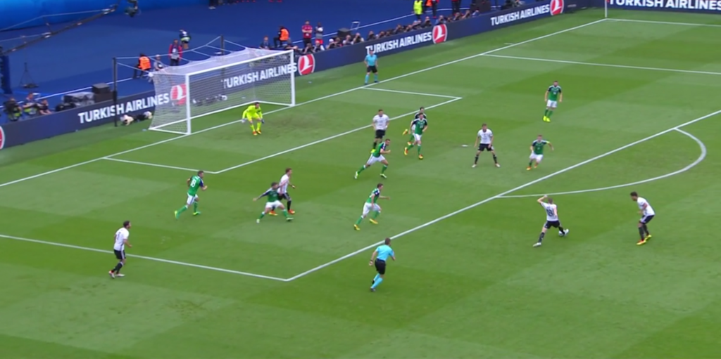 The Northern Ireland defense rush to close the space in and around the box