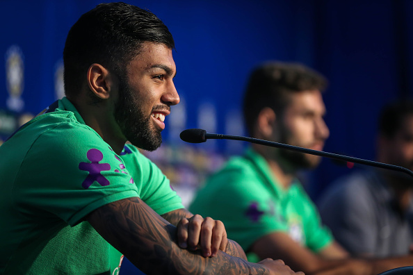 Brazil's football team players Gabigol (L) and Felipe during a press conference before a training at their hotel in Viamao, Brazil AFP PHOTO/Jefferson BERNARDES / AFP / JEFFERSON BERNARDES
