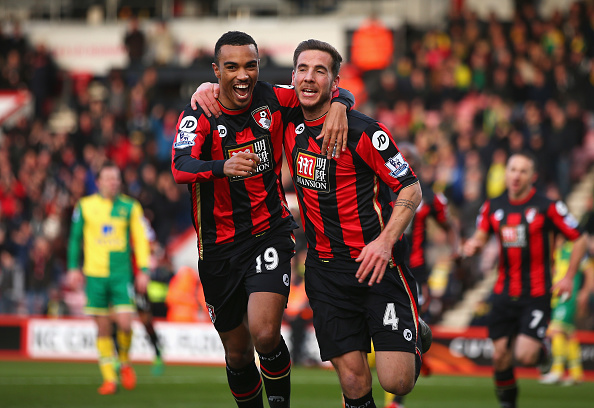 BOURNEMOUTH, ENGLAND - JANUARY 16: Dan Gosling (R) of Bournemouth celebrates scoring his team's first goal with his team mate Junior Stanislas (L) during the Barclays Premier League match between A.F.C. Bournemouth and Norwich City at the Vitality Stadium on January 16, 2016 in Bournemouth, England. (Photo by Bryn Lennon/Getty Images)