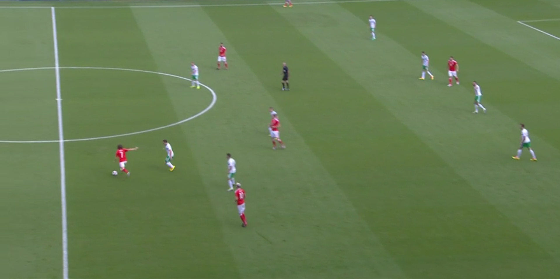 Wales-off-org-1.png - Joe Allen plays a long pass under pressure to the left wing