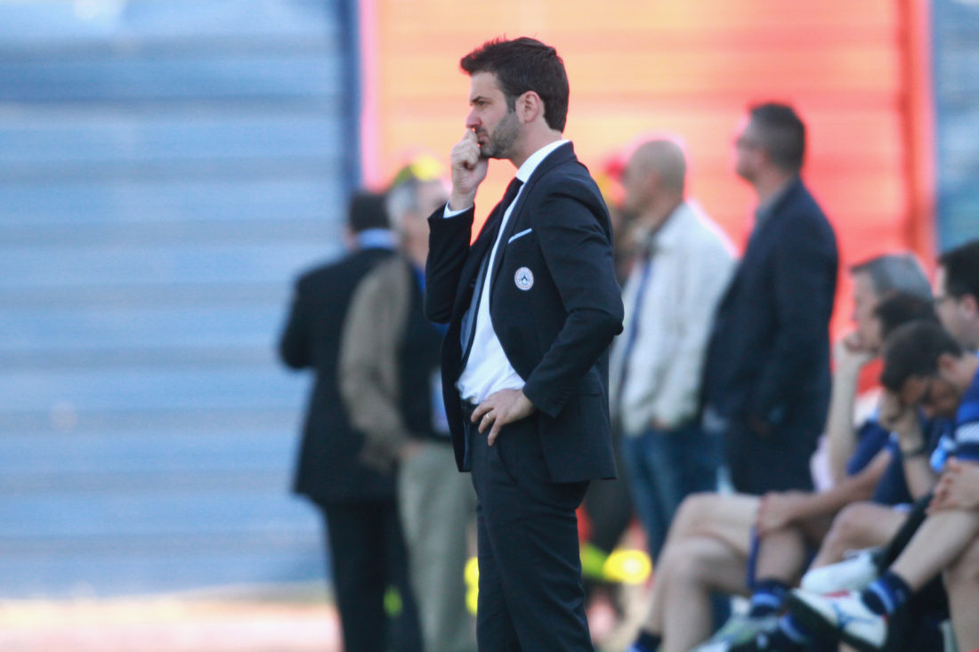 CAGLIARI, ITALY - MAY 31:Andrea Stramaccioni coach of Udinese looks on during the Serie A match between Cagliari Calcio and Udinese Calcio at Stadio Sant'Elia on May 31, 2015 in Cagliari, Italy. (Photo by Enrico Locci/Getty Images)
