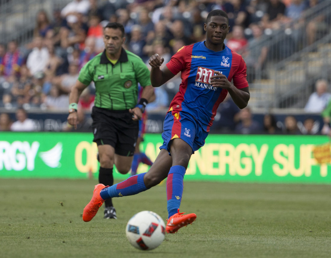 CHESTER, PA - JULY 13: Sullay Kaikai #20 of Crystal Palace plays against the Philadelphia Union at Talen Energy Stadium on July 13, 2016 in Chester, Pennsylvania. The match ended in a 0-0 tie. (Photo by Mitchell Leff/Getty Images)